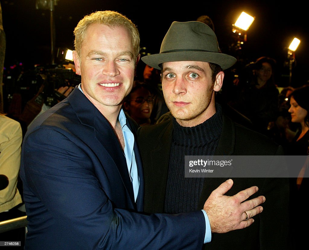 Actors Neal McDonough (L) and Ethan Embry arrive at the premiere of 'Timeline' at the National Theatre on November 19, 2003 in Los Angeles, California.