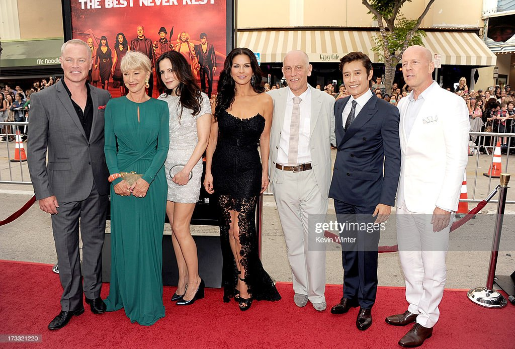 Actors Neal McDonough, Helen Mirren, Mary-Louise Parker, Catherine Zeta-Jones, John Malkovich, Byung-hun Lee, and Bruce Willis attend the premiere of Summit Entertainment's 'RED 2' at Westwood Village on July 11, 2013 in Los Angeles, California.