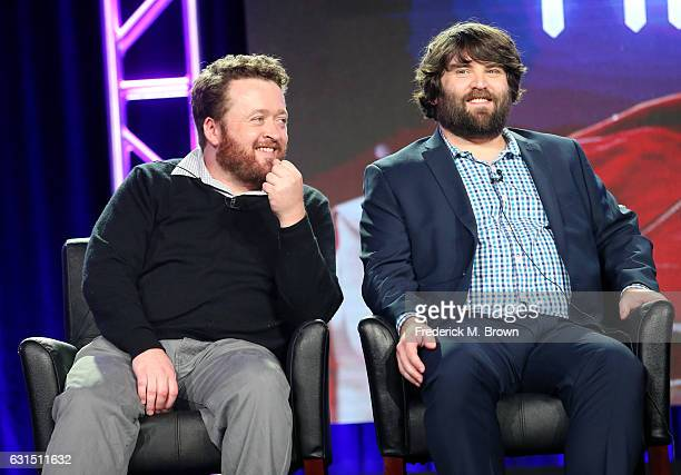 Actors Neil Casey and John Gemberling of the television show 'Making History' speak onstage during the FOX portion of the 2017 Winter Television...