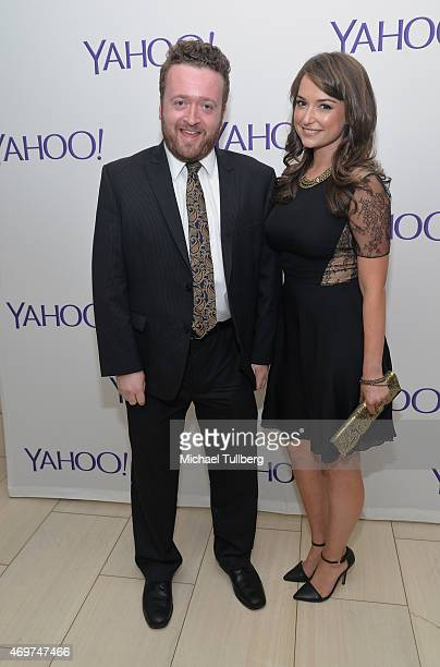 Actors Neil Casey and Milana Vayntrub attend the launch party for Yahoo Screen's new show 'Other Space' at The London on April 14 2015 in West...