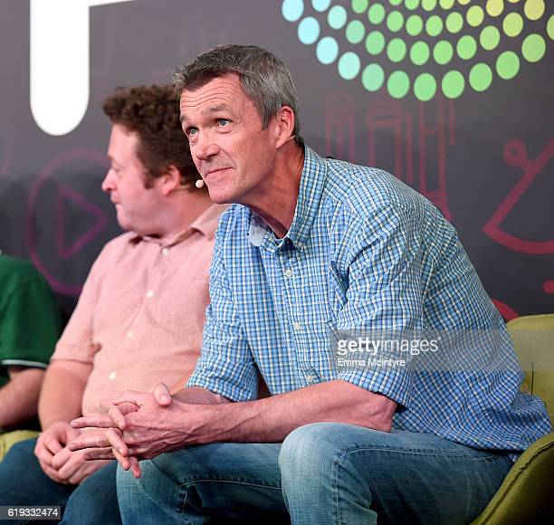 Actors Neil Casey and Neil Flynn speak onstage during the 'Comedy Improv AllStars Showcase' panel at Entertainment Weekly's PopFest at The Reef on...