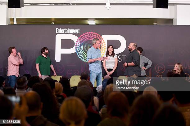 Actors Neil Casey John Gemberling Neil Flynn D'Arcy Carden Colton Dunn Adam Pally and Kate Lambert speak onstage during the 'Comedy Improv AllStars...