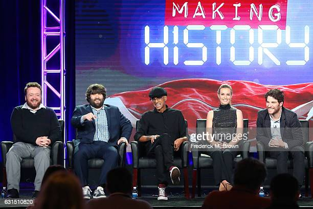 Actors Neil Casey John Gemberling Yassir Lester Leighton Meester and Adam Pally of the television show 'Making History' speak onstage during the FOX...