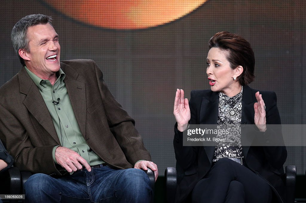 Actors <a gi-track='captionPersonalityLinkClicked' href=/galleries/search?phrase=Neil+Flynn&family=editorial&specificpeople=556309 ng-click='$event.stopPropagation()'>Neil Flynn</a> and <a gi-track='captionPersonalityLinkClicked' href=/galleries/search?phrase=Patricia+Heaton&family=editorial&specificpeople=173459 ng-click='$event.stopPropagation()'>Patricia Heaton</a> of 'the middle' speak onstage during the ABC portion of the 2013 Winter TCA Tour at Langham Hotel on January 10, 2013 in Pasadena, California.