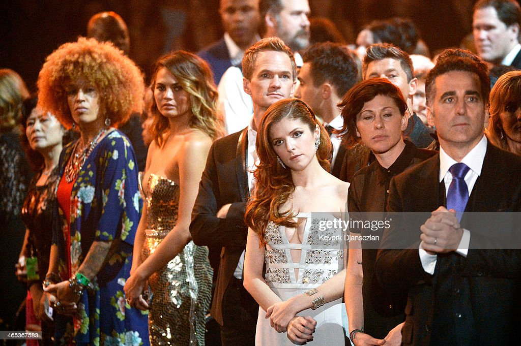 Actors Neil Patrick Harris (3rd R) and Anna Kendrick (2nd R) in the audience during the 56th GRAMMY Awards at Staples Center on January 26, 2014 in Los Angeles, California.