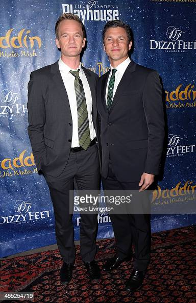 Actors Neil Patrick Harris and David Burtka attend 'Aladdin and His Winter Wish' opening night at the Pasadena Playhouse on December 11 2013 in...