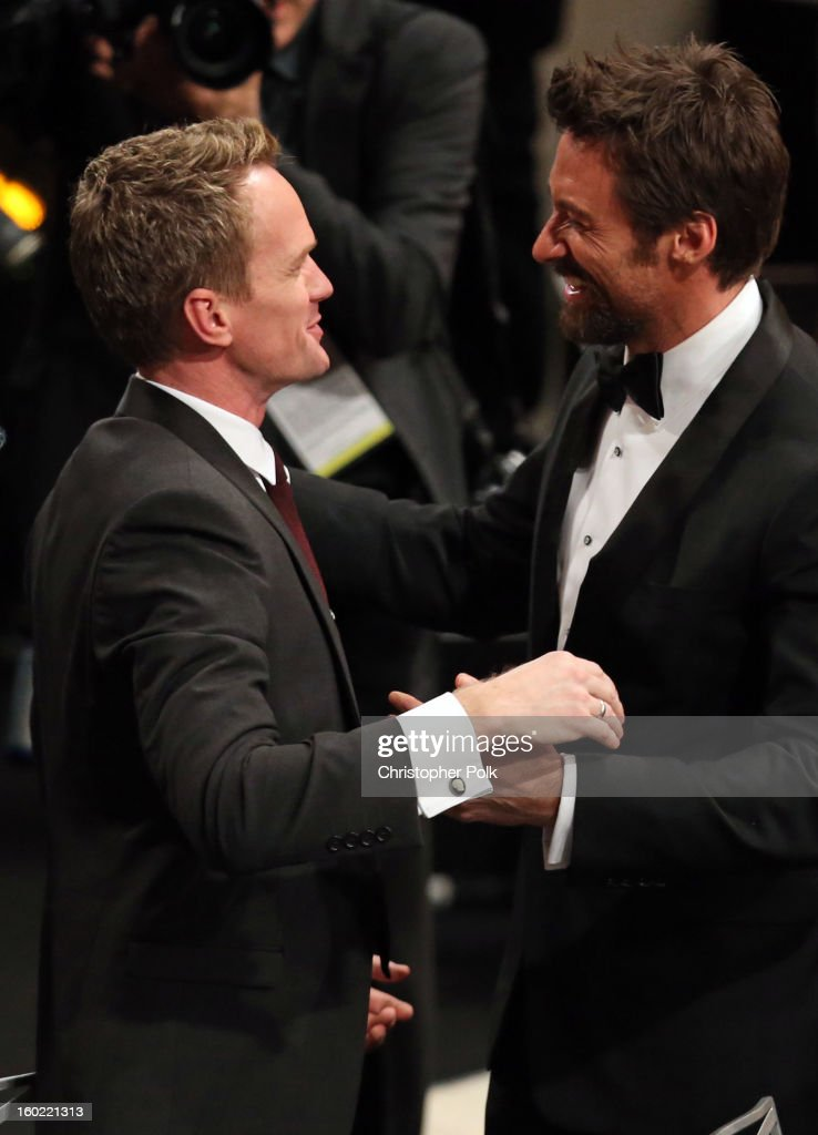 Actors Neil Patrick Harris and Hugh Jackman attend the 19th Annual Screen Actors Guild Awards at The Shrine Auditorium on January 27, 2013 in Los Angeles, California. (Photo by Christopher Polk/WireImage) 23116_012_2203.JPG