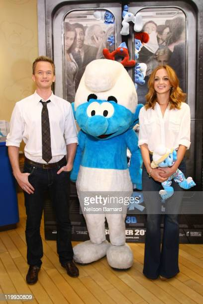 Actors Neil Patrick Harris and Jayma Mays visit the BuildABear Workshop on July 27 2011 in New York City
