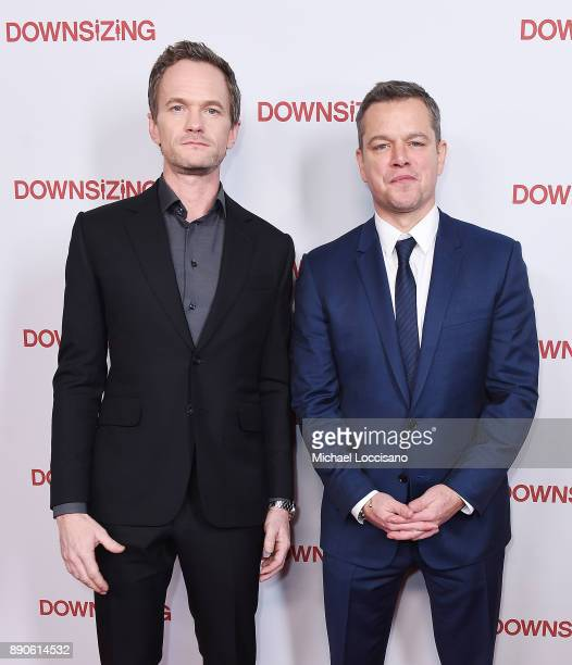 Actors Neil Patrick Harris and Matt Damon attend the New York screening of 'Downsizing' at AMC Lincoln Square Theater on December 11 2017 in New York...