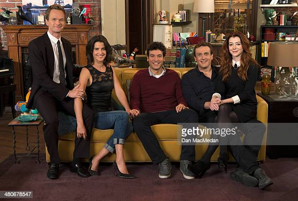 Actors Neil Patrick Harris Cobie Smulders Josh Radnor Jason Segel and Alyson Hannigan are photographed for USA Today on February 18 2014 on the set...