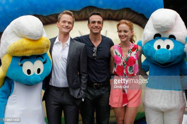 Actors Neil Patrick Harris Hank Azaria and Jayma Mays attend the New York Smurf Week kick off ceremony at Smurfs Village at Merchant's Gate Central...