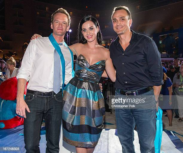 Actors Neil Patrick Harris Katy Perry and Hank Azaria attend 'The Smurfs 2' photo call at The 5th Annual Summer Of Sony at the Ritz Carlton Hotel on...