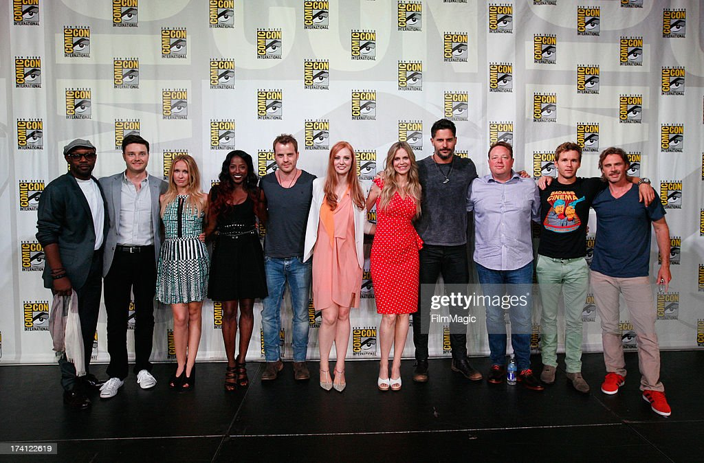 Actors Nelsan Ellis, Michael McMillian, Anna Camp, Rutina Wesley, Robert Kazinsky, Deborah Ann Woll, Kristin Bauer van Straten, Joe Manganiello, producer Brian Buckner, actors Ryan Kwanten and Sam Trammell attend HBO's 'True Blood' Panel at San Diego Convention Center on July 20, 2013 in San Diego, California.