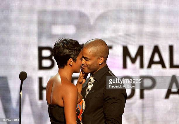 Actors Nia Long and Larenz Tate speak onstage during the 2010 BET Awards held at the Shrine Auditorium on June 27 2010 in Los Angeles California