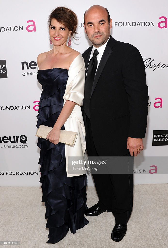 Actors Nia Vardalos and Ian Gomez attend the 21st Annual Elton John AIDS Foundation Academy Awards Viewing Party at West Hollywood Park on February...