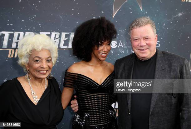 Actors Nichelle Nichols Sonequa MartinGreen and William Shatner attend the premiere of CBS's 'Star Trek Discovery' at The Cinerama Dome on September...