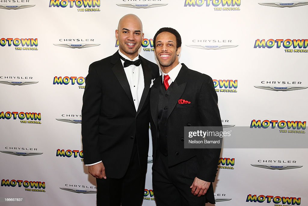 Actors Nicholas Christopher (L) and Jamal Story attend the after party for the Broadway opening night for 'Motown: The Musical' at Roseland Ballroom on April 14, 2013 in New York City.