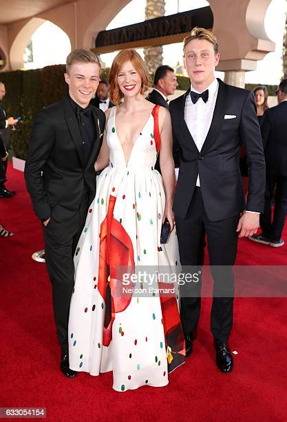 Actors Nicholas Hamilton Trin Miller and George MacKay attend the 23rd Annual Screen Actors Guild Awards at The Shrine Expo Hall on January 29 2017...