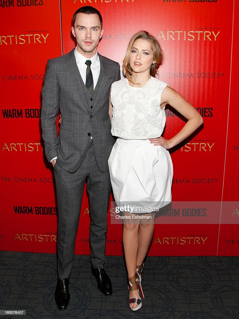 Actors <a gi-track='captionPersonalityLinkClicked' href=/galleries/search?phrase=Nicholas+Hoult&family=editorial&specificpeople=598892 ng-click='$event.stopPropagation()'>Nicholas Hoult</a> and <a gi-track='captionPersonalityLinkClicked' href=/galleries/search?phrase=Teresa+Palmer&family=editorial&specificpeople=612319 ng-click='$event.stopPropagation()'>Teresa Palmer</a> attend the Cinema Society and Artistry screening of 'Warm Bodies' at Landmark Sunshine Cinema on January 25, 2013 in New York City.