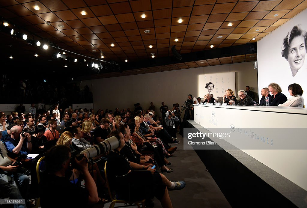Actors Nicholas Hoult Charlize Theron director George Miller actor Tom Hardy producer Doug Mitchell and guest attend the 'Mad Max Fury Road' press...