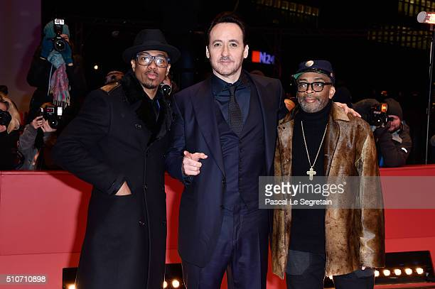 Actors Nick Cannon John Cusack and director Spike Lee attend the 'ChiRaq' premiere during the 66th Berlinale International Film Festival Berlin at...