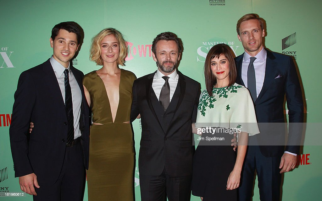 Actors Nick D'Agosto, Caitlin Fitzgerald, <a gi-track='captionPersonalityLinkClicked' href=/galleries/search?phrase=Michael+Sheen&family=editorial&specificpeople=213120 ng-click='$event.stopPropagation()'>Michael Sheen</a>, <a gi-track='captionPersonalityLinkClicked' href=/galleries/search?phrase=Lizzy+Caplan&family=editorial&specificpeople=599560 ng-click='$event.stopPropagation()'>Lizzy Caplan</a> and Teddy Sears attend 'Masters Of Sex' New York Series Premiere at The Morgan Library & Museum on September 26, 2013 in New York City.