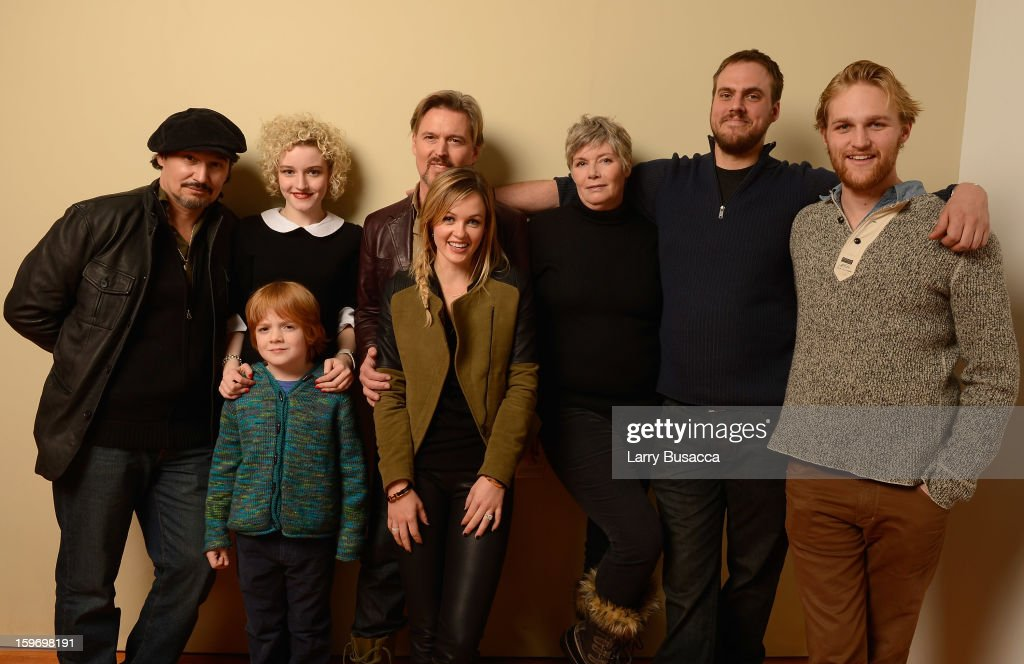 Actors Nick Damici, Jack Gore, Julia Garner, Bill Sage, Ambyr Childers, <a gi-track='captionPersonalityLinkClicked' href=/galleries/search?phrase=Kelly+McGillis&family=editorial&specificpeople=673497 ng-click='$event.stopPropagation()'>Kelly McGillis</a>, writer/director Jim Mickle and actor <a gi-track='captionPersonalityLinkClicked' href=/galleries/search?phrase=Wyatt+Russell&family=editorial&specificpeople=861756 ng-click='$event.stopPropagation()'>Wyatt Russell</a> pose for a portrait during the 2013 Sundance Film Festival at the Getty Images Portrait Studio at Village at the Lift on January 18, 2013 in Park City, Utah.