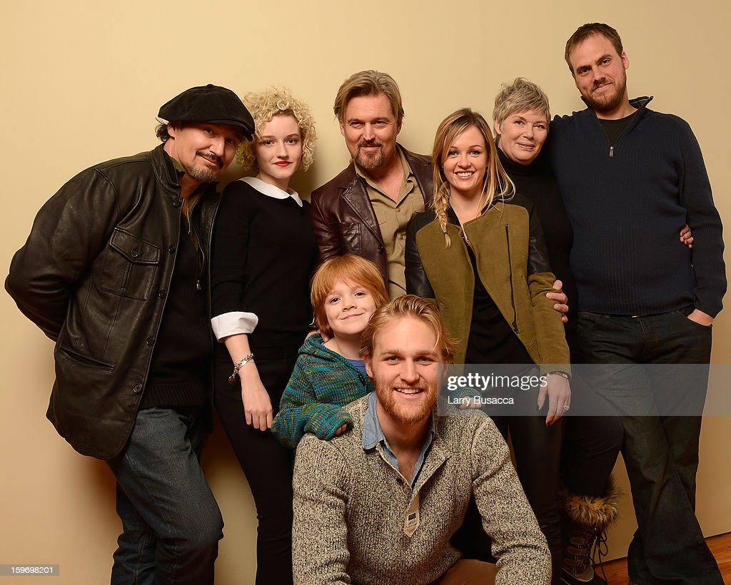 Actors Nick Damici, Julia Garner, Bill Sage, Jack Gore, <a gi-track='captionPersonalityLinkClicked' href=/galleries/search?phrase=Wyatt+Russell&family=editorial&specificpeople=861756 ng-click='$event.stopPropagation()'>Wyatt Russell</a>, Ambyr Childers, <a gi-track='captionPersonalityLinkClicked' href=/galleries/search?phrase=Kelly+McGillis&family=editorial&specificpeople=673497 ng-click='$event.stopPropagation()'>Kelly McGillis</a> and writer/director Jim Mickle pose for a portrait during the 2013 Sundance Film Festival at the Getty Images Portrait Studio at Village at the Lift on January 18, 2013 in Park City, Utah.