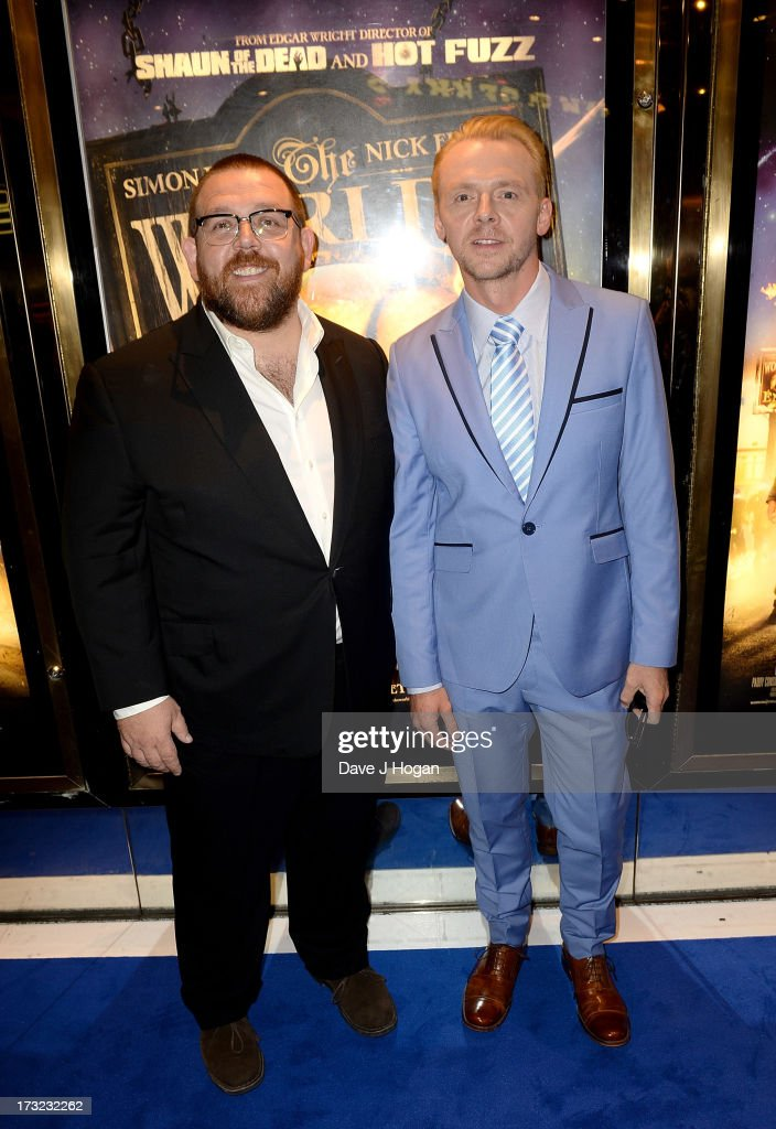 Actors Nick Frost and <a gi-track='captionPersonalityLinkClicked' href=/galleries/search?phrase=Simon+Pegg&family=editorial&specificpeople=206280 ng-click='$event.stopPropagation()'>Simon Pegg</a> attend 'The World's End' world premiere at the Empire Leicester Square on July 10, 2013 in London, England.