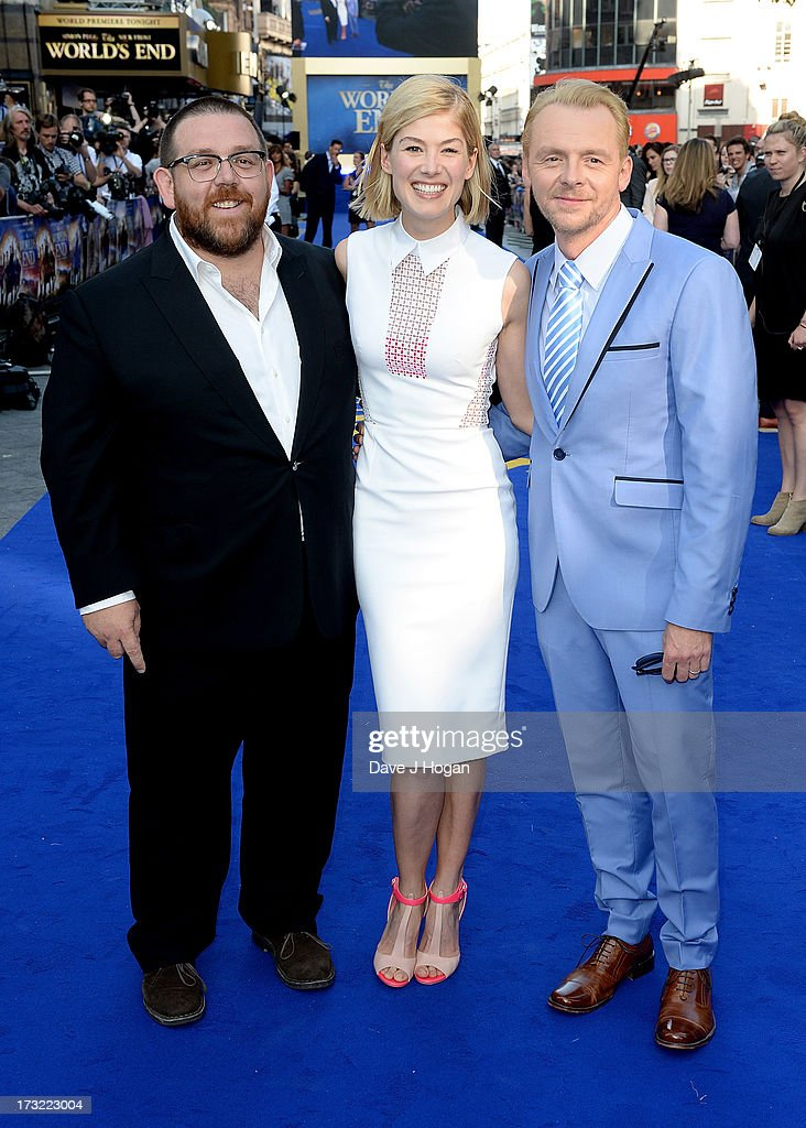 Actors Nick Frost, <a gi-track='captionPersonalityLinkClicked' href=/galleries/search?phrase=Rosamund+Pike&family=editorial&specificpeople=208910 ng-click='$event.stopPropagation()'>Rosamund Pike</a> and <a gi-track='captionPersonalityLinkClicked' href=/galleries/search?phrase=Simon+Pegg&family=editorial&specificpeople=206280 ng-click='$event.stopPropagation()'>Simon Pegg</a> attend 'The World's End' world premiere at the Empire Leicester Square on July 10, 2013 in London, England.