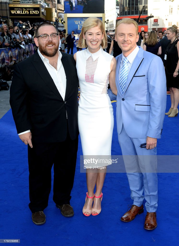 Actors Nick Frost, Rosamund Pike and Simon Pegg attend 'The World's End' world premiere at the Empire Leicester Square on July 10, 2013 in London, England.