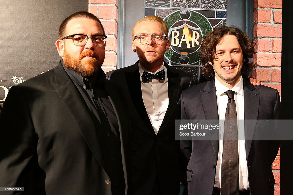 Actors Nick Frost, <a gi-track='captionPersonalityLinkClicked' href=/galleries/search?phrase=Simon+Pegg&family=editorial&specificpeople=206280 ng-click='$event.stopPropagation()'>Simon Pegg</a> and director <a gi-track='captionPersonalityLinkClicked' href=/galleries/search?phrase=Edgar+Wright&family=editorial&specificpeople=2194043 ng-click='$event.stopPropagation()'>Edgar Wright</a> arrive for 'The World's End' Australian premiere at Hoyts Melbourne Central on July 16, 2013 in Melbourne, Australia.