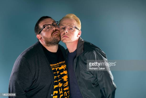 Actors Nick Frost Simon Pegg are photographed for the Observer on July 2 2013 in London England