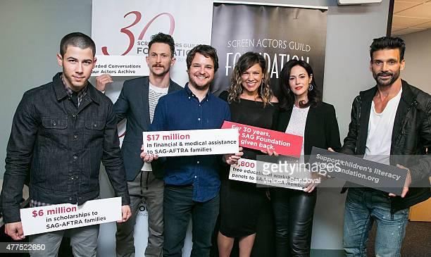 Actors Nick Jonas Jonathan Tucker Show creator Byron Balasco and actors Kiele Sanchez Joanna Going and Frank Grillo attend The SAG Foundation hosts...