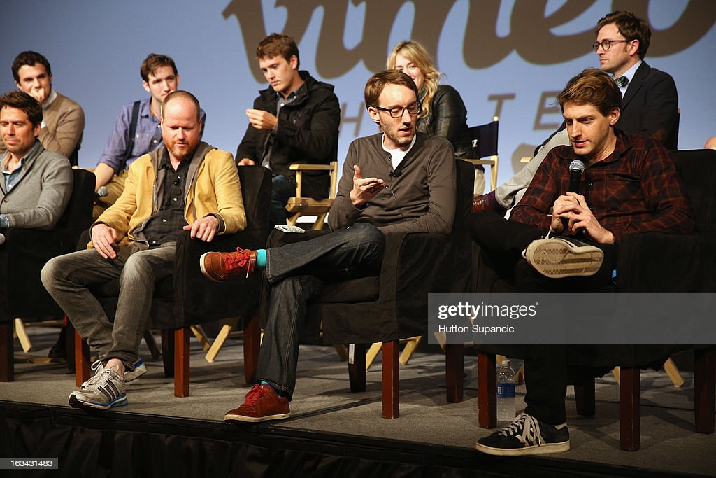 Actors Nick Kocher, Brian McElhaney, Spencer Treat Clark, Ashley Johnson and Tom Lenk (front row L-R) Actor Alexis Denisof, writer/director Joss Whedon, Adam B. Vary, writer Entertainment Weekly and actor Fran Kranz speak onstage at the Much Ado About Much Ado Panel during the 2013 SXSW Music, Film + Interactive Festival at Austin Convention Center on March 9, 2013 in Austin, Texas.