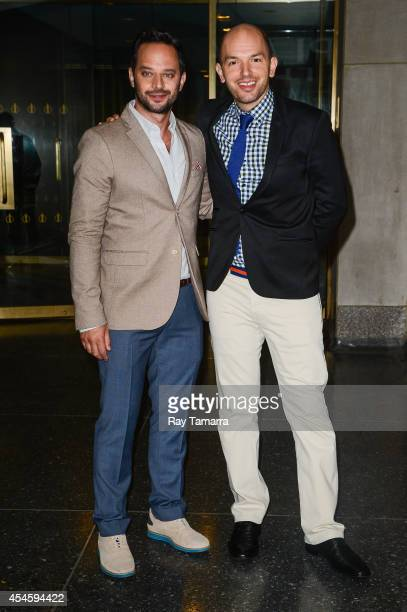 Actors Nick Kroll and Paul Scheer leave the 'Today Show' taping at the NBC Rockefeller Center Studios on September 3 2014 in New York City