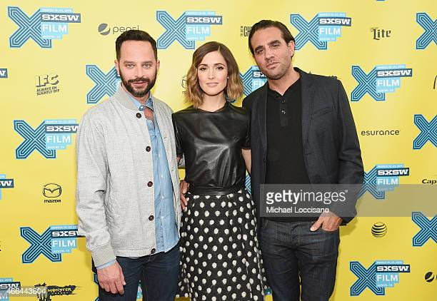 Actors Nick Kroll Rose Byrne and Bobby Cannavale attend the 'Adult Beginners' premiere during the 2015 SXSW Music Film Interactive Festival at Topfer...
