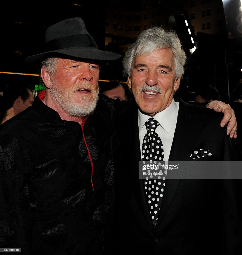 Actors <a gi-track='captionPersonalityLinkClicked' href=/galleries/search?phrase=Nick+Nolte&family=editorial&specificpeople=206370 ng-click='$event.stopPropagation()'>Nick Nolte</a> (L) and <a gi-track='captionPersonalityLinkClicked' href=/galleries/search?phrase=Dennis+Farina&family=editorial&specificpeople=217998 ng-click='$event.stopPropagation()'>Dennis Farina</a> arrive at the premiere of HBO's 'Luck' at the Chinese Theater on January 25, 2012 in Los Angeles, California.