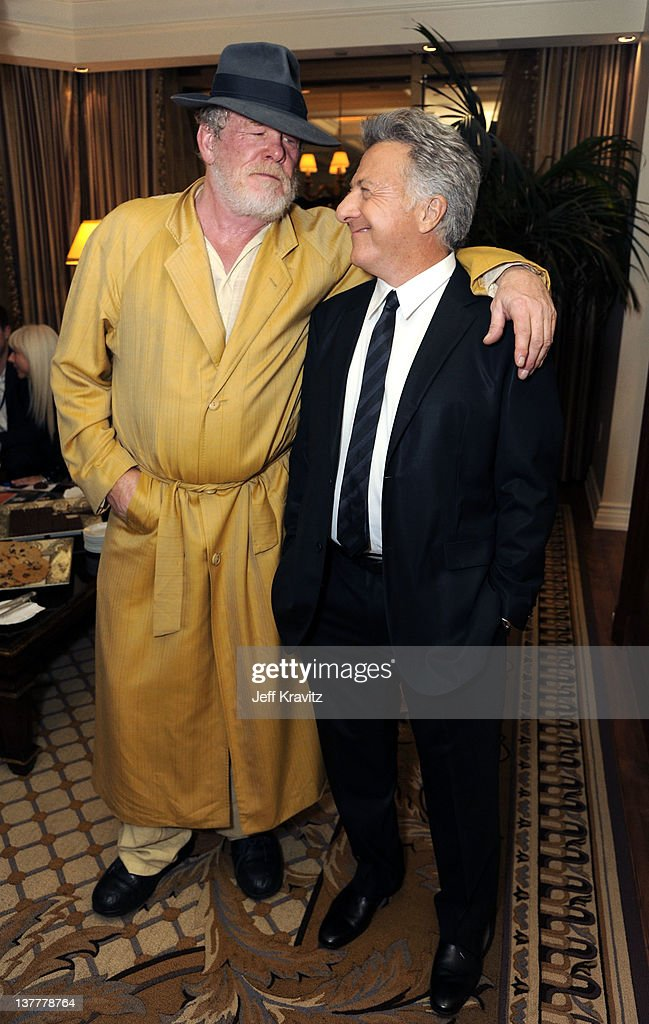 Actors <a gi-track='captionPersonalityLinkClicked' href=/galleries/search?phrase=Nick+Nolte&family=editorial&specificpeople=206370 ng-click='$event.stopPropagation()'>Nick Nolte</a> (L) and <a gi-track='captionPersonalityLinkClicked' href=/galleries/search?phrase=Dustin+Hoffman&family=editorial&specificpeople=171356 ng-click='$event.stopPropagation()'>Dustin Hoffman</a> share a laugh at the premiere of HBO's 'Luck' at THEhotel at Mandalay Bay Resort and Casino on January 26, 2012 in Las Vegas, Nevada.