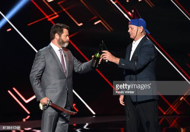 Actors Nick Offerman and Bill Murray accept the Best Moment award on behalf of the 2016 World Series champion Chicago Cubs onstage at The 2017 ESPYS...