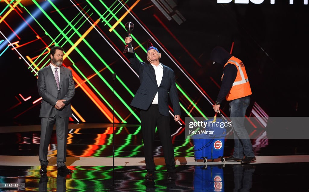 Actors Nick Offerman and Bill Murray and MLB player David Ross accept the Best Moment award on behalf of the 2016 World Series champion Chicago Cubs onstage at The 2017 ESPYS at Microsoft Theater on July 12, 2017 in Los Angeles, California.