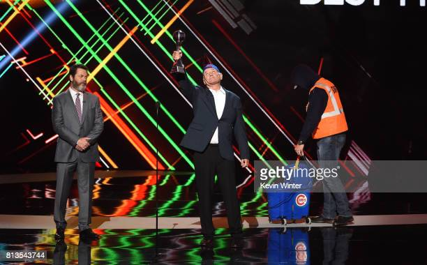Actors Nick Offerman and Bill Murray and MLB player David Ross accept the Best Moment award on behalf of the 2016 World Series champion Chicago Cubs...