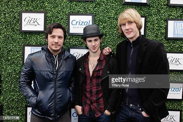 Actors Nick Wechsler Connor Paolo and Gabriel Mann attend GBK's Golden Globes Gift Lounge at L'Ermitage Beverly Hills Hotel on January 14 2012 in...