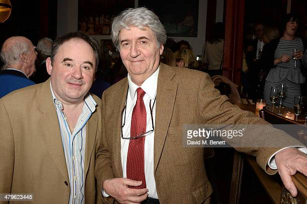Actors Nick Wilton and Tom Conti attend the press night of 'Two Into One' at Menier Chocolate Factory on March 19 2014 in London England
