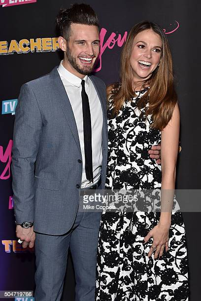 Actors Nico Tortorella and Sutton Foster attend the after party for the 'Younger' Season 2 and 'Teachers' Series Premiere at The NoMad Hotel on...