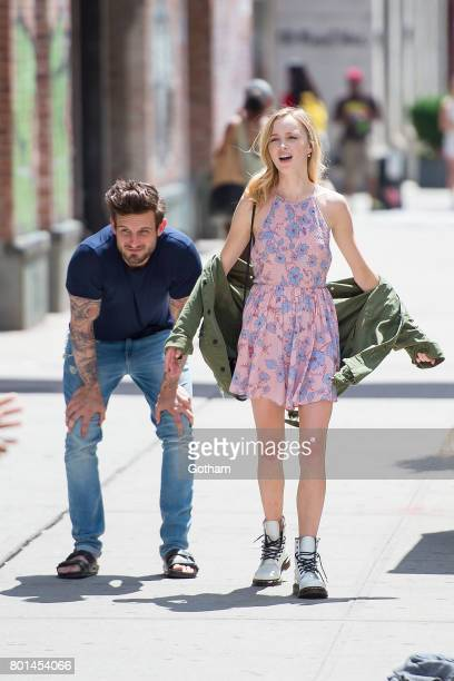 Actors Nico Tortorella and Tessa Albertson are seen filming 'Younger' in SoHo on June 26 2017 in New York City