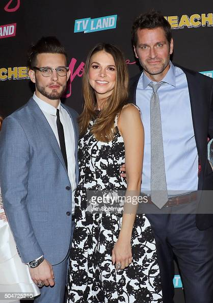 Actors Nico Tortorella Sutton Foster and Peter Hermann attend the 'Younger' season 2 and 'Teachers' series premiere at The NoMad Hotel on January 12...