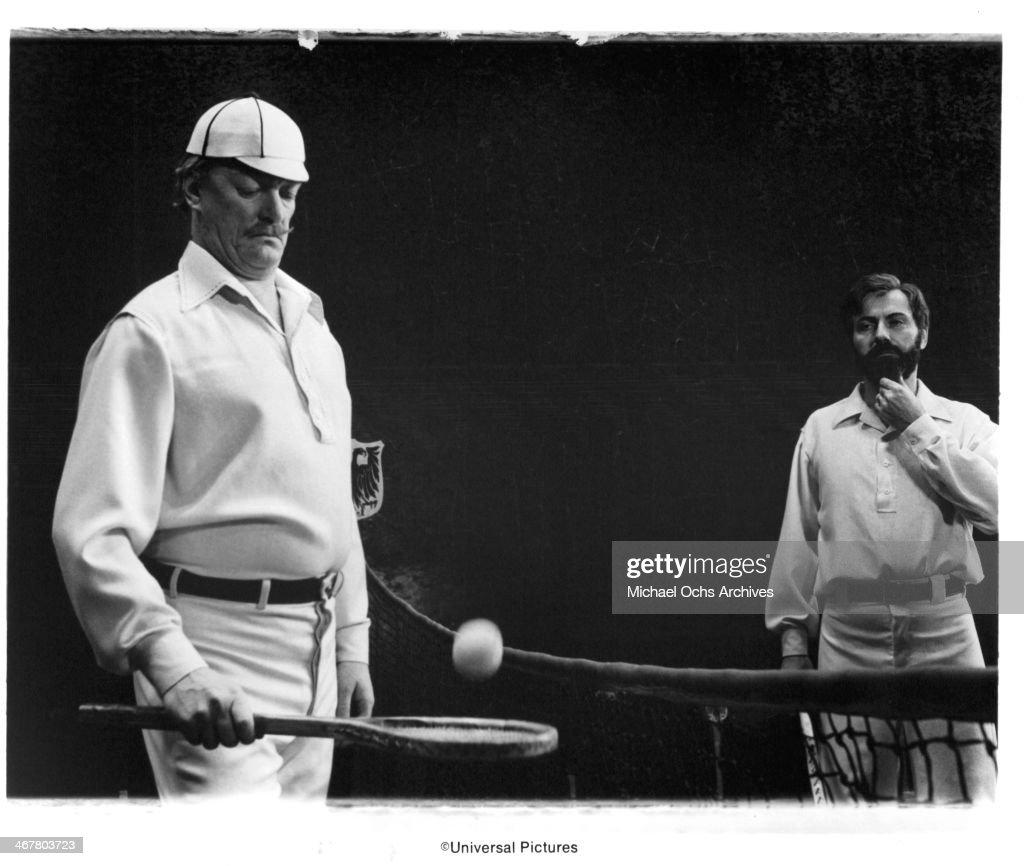 Actors Nicol Williamson and Alan Arkin on set of the movie 'The SevenPerCent Solution' circa 1976