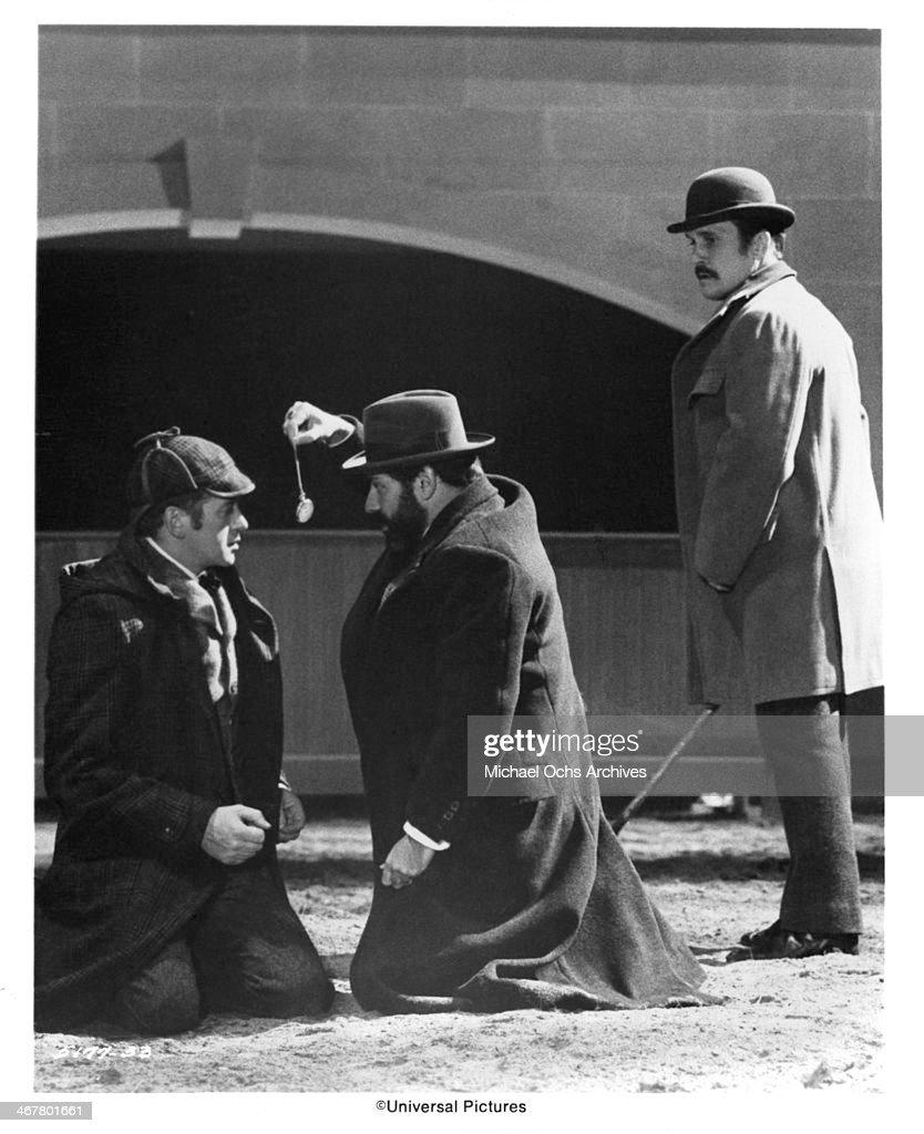 Actors Nicol Williamson Robert Duvall and Alan Arkin on set of the movie 'The SevenPerCent Solution' circa 1976