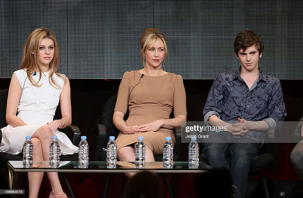 Actors Nicola Peltz, Vera Farmiga and Freddie Highmore attend A&E's 'Bates Motel' TCA Panel at the Langham Hotel on January 4, 2013 in Pasadena, California.